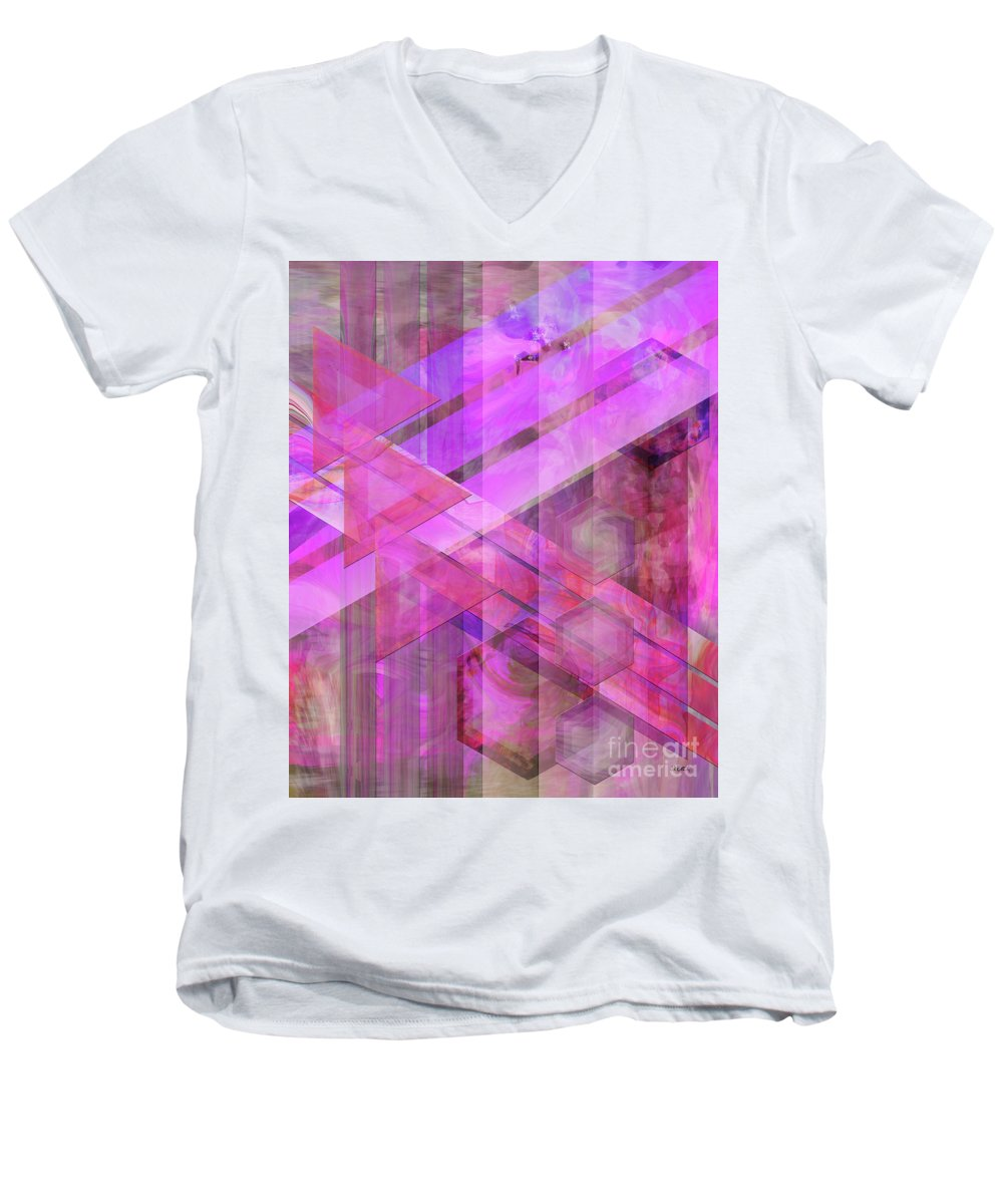 Magenta Haze Men's V-Neck T-Shirt featuring the digital art Magenta Haze by John Beck