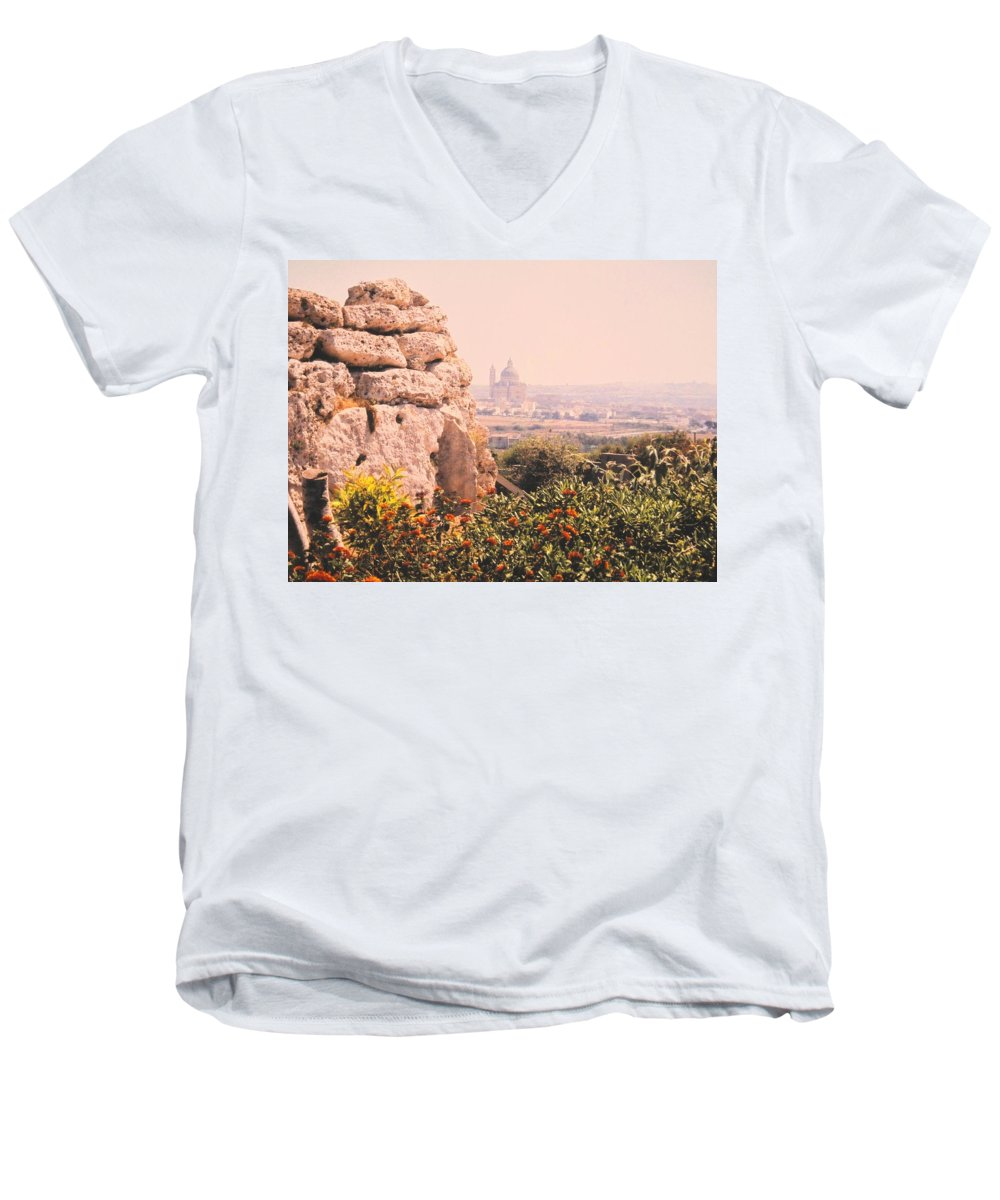 Malta Men's V-Neck T-Shirt featuring the photograph Malta Wall by Ian MacDonald