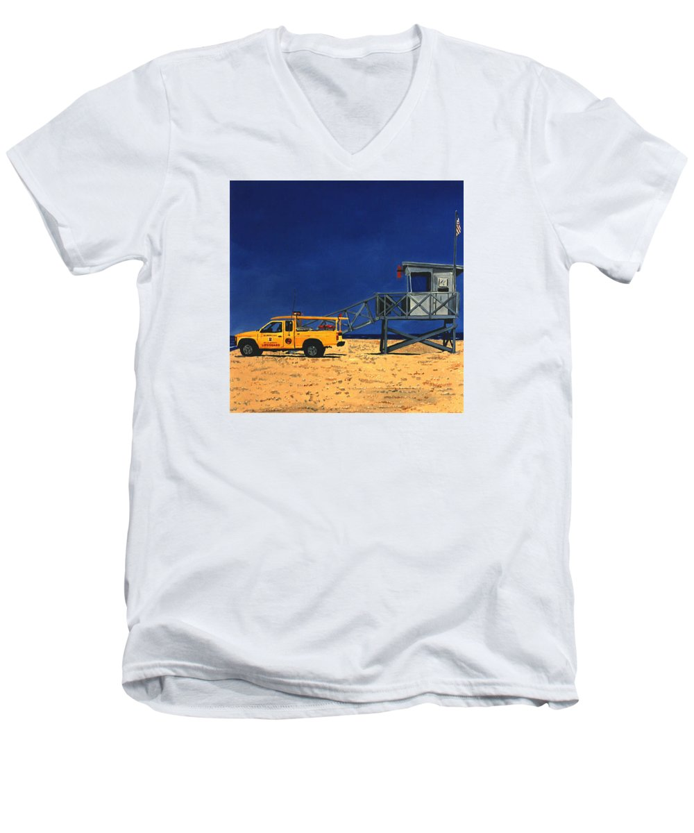 Modern Men's V-Neck T-Shirt featuring the painting Manhattan Beach Lifeguard Station Side by Lance Headlee