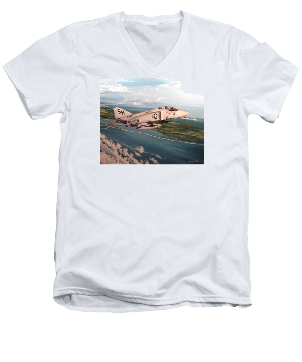 Aviation Men's V-Neck T-Shirt featuring the painting Marine Phantom by Marc Stewart