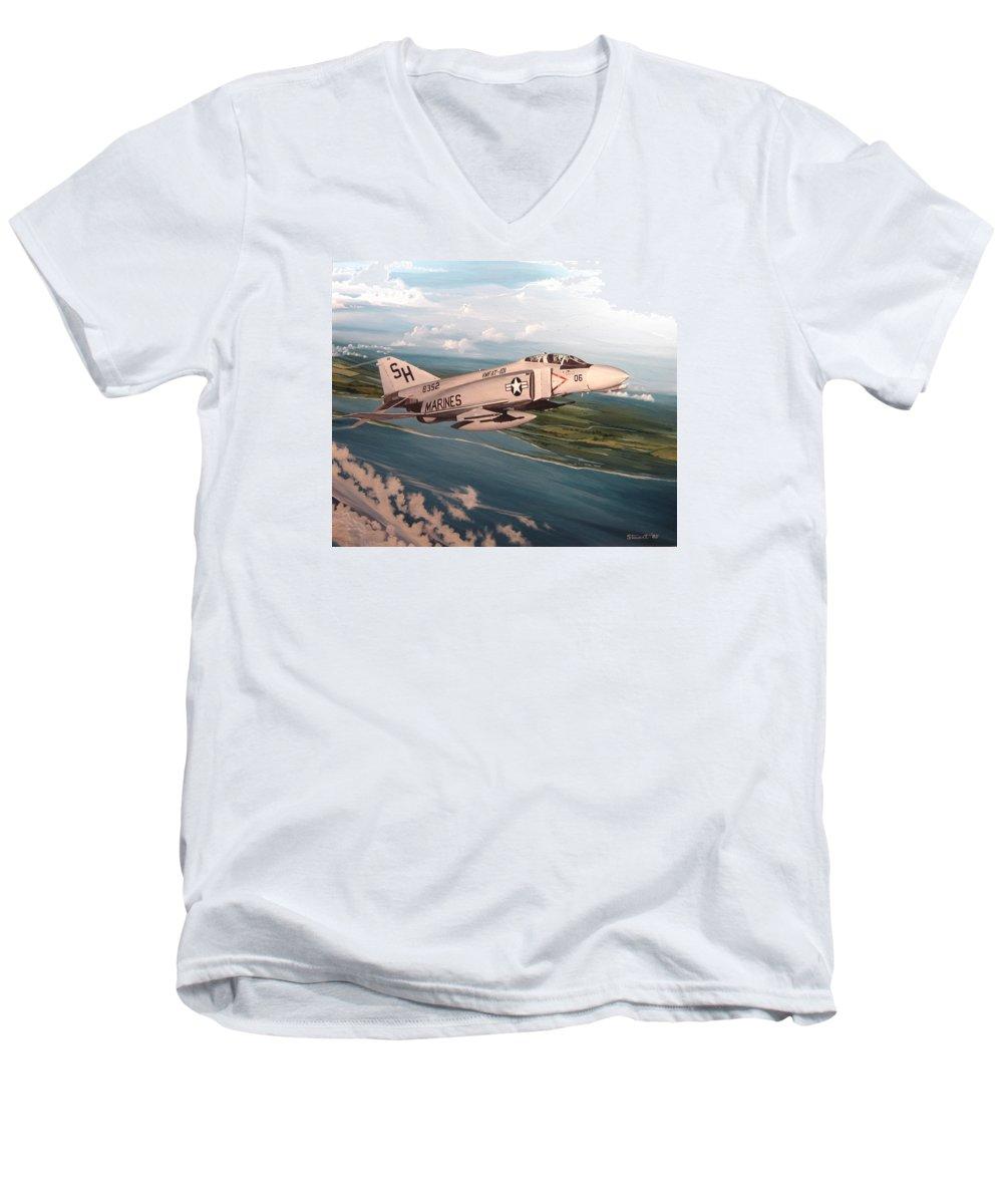 Aviation Men's V-Neck T-Shirt featuring the painting Marine Phantom by Marc Stewart