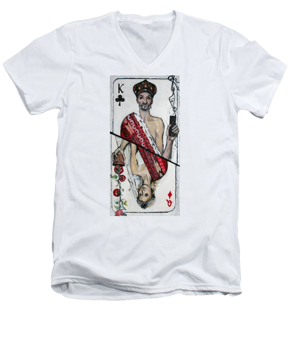 Marriage Men's V-Neck T-Shirt featuring the painting Marriage by Mima Stajkovic