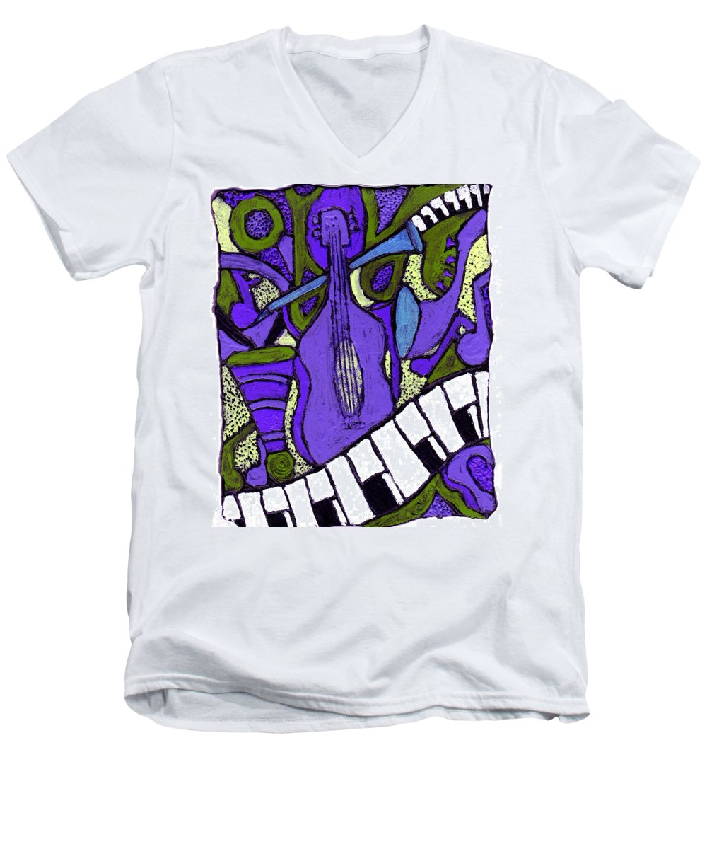 Jazz Men's V-Neck T-Shirt featuring the painting Melllow Jazz by Wayne Potrafka
