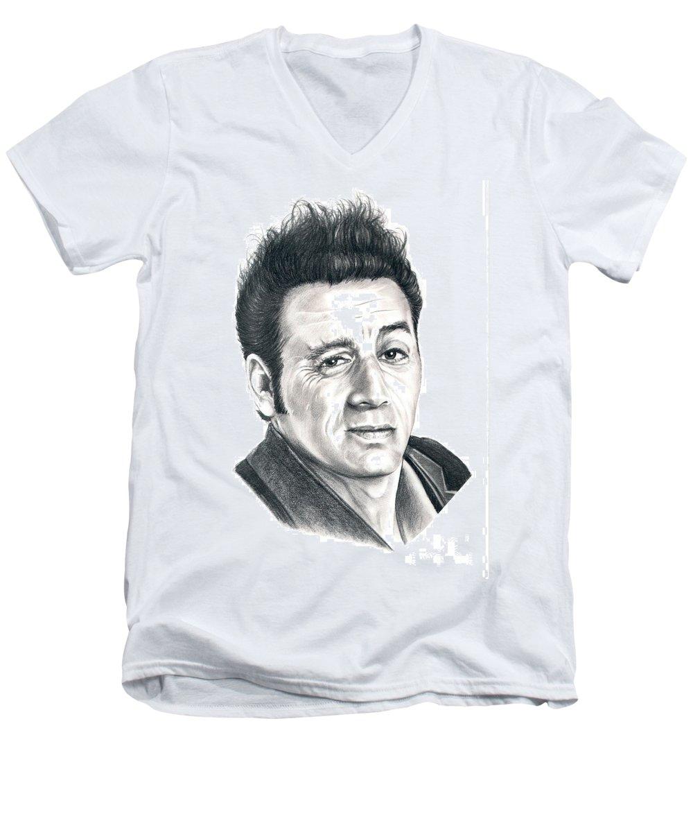 Pencil Men's V-Neck T-Shirt featuring the drawing Michael Richards Cosmo Kramer by Murphy Elliott