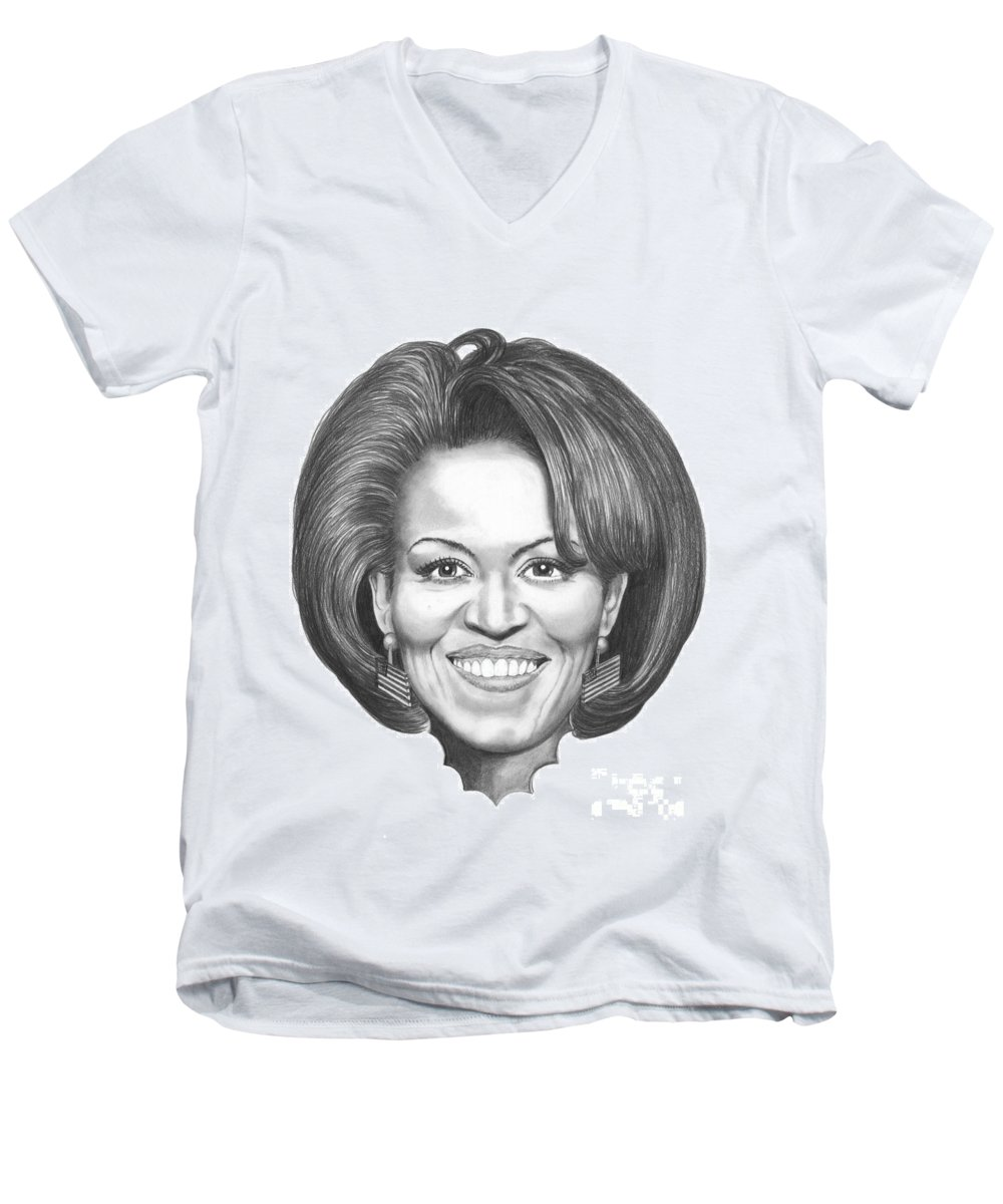 Drawing Men's V-Neck T-Shirt featuring the drawing Michelle Obama by Murphy Elliott