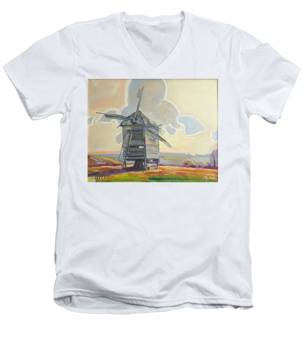 Oil Men's V-Neck T-Shirt featuring the painting Mill by Sergey Ignatenko