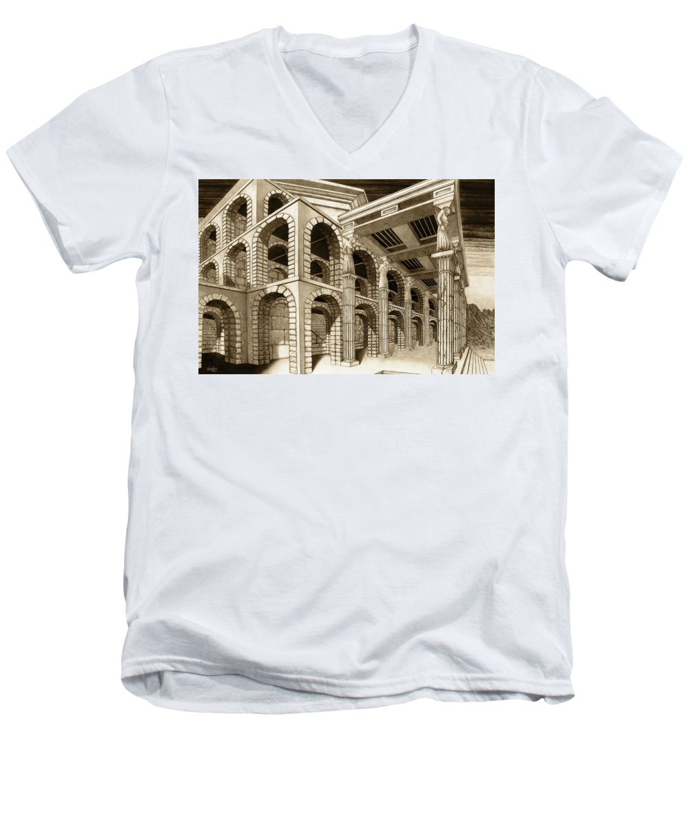 Mithlond Men's V-Neck T-Shirt featuring the drawing Mithlond Gray Havens by Curtiss Shaffer