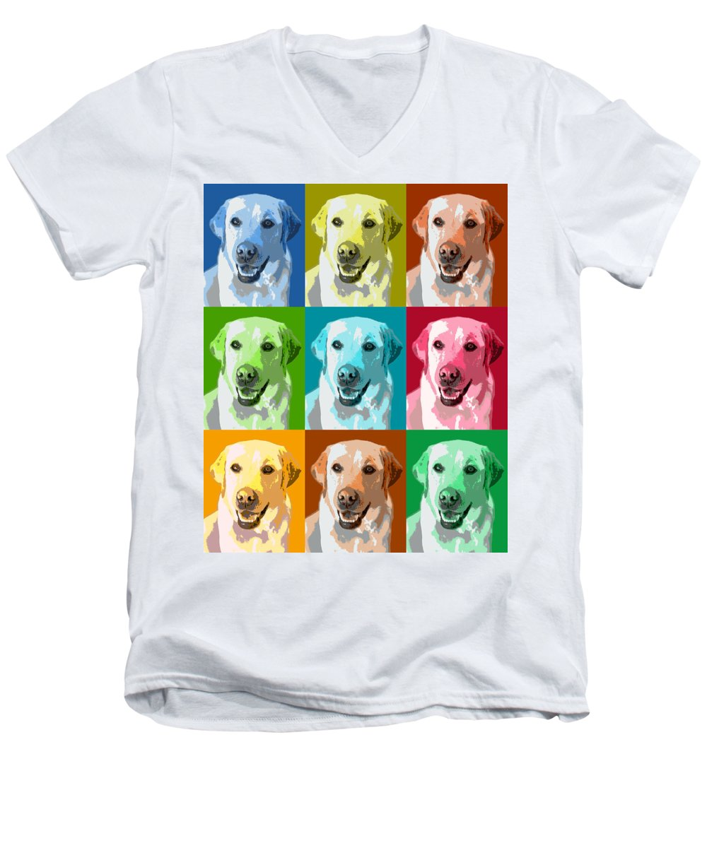 Americana Men's V-Neck T-Shirt featuring the photograph Golden Retriever Warhol by Marilyn Hunt