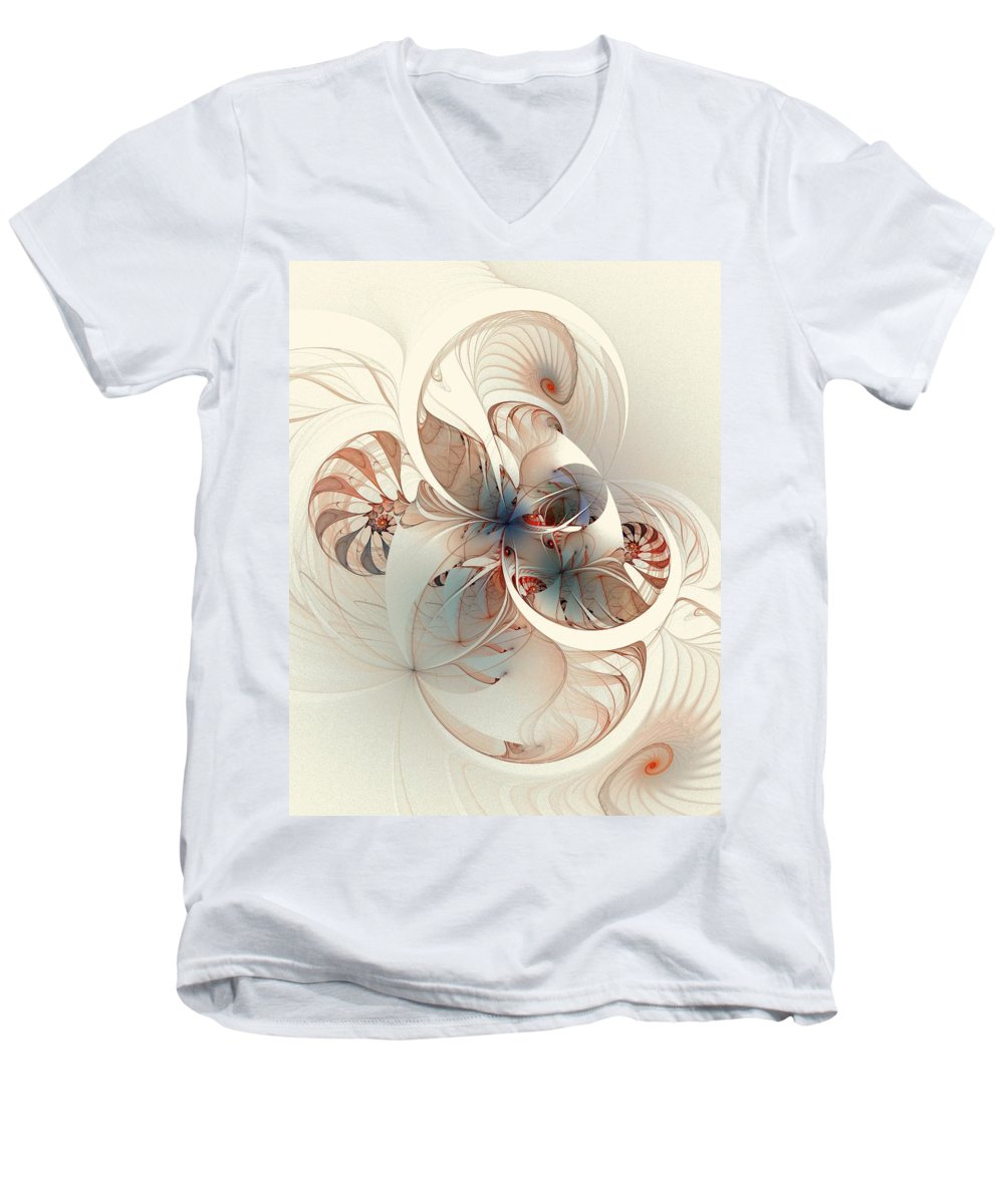 Men's V-Neck T-Shirt featuring the digital art Mollusca by Amanda Moore