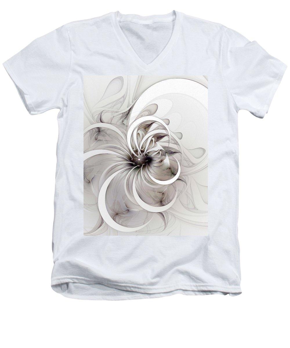 Digital Art Men's V-Neck T-Shirt featuring the digital art Monochrome Flower by Amanda Moore