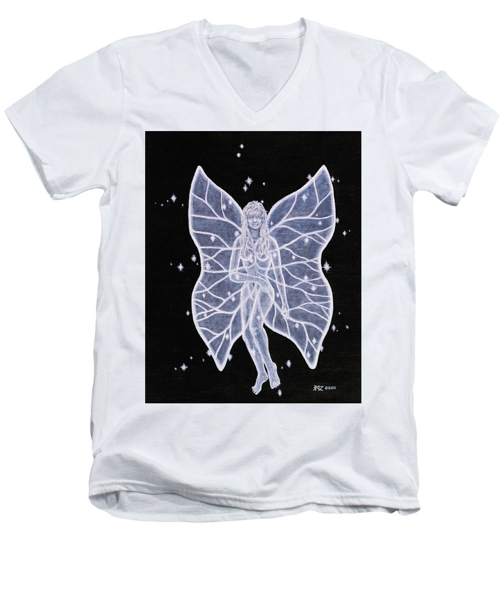 Fairy Men's V-Neck T-Shirt featuring the painting Moon Fairy by Roz Eve