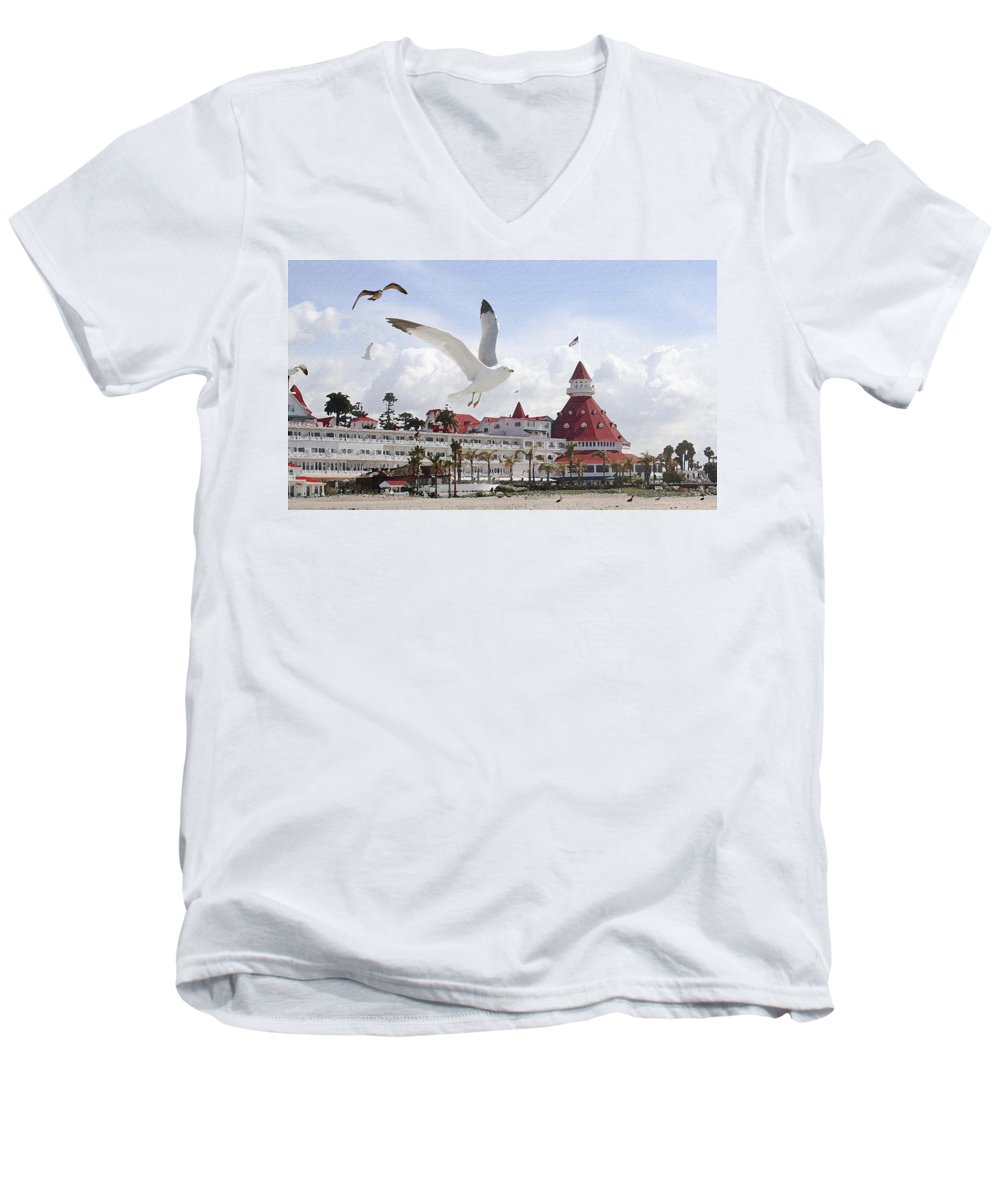 Beach Men's V-Neck T-Shirt featuring the photograph Morning Gulls On Coronado by Margie Wildblood