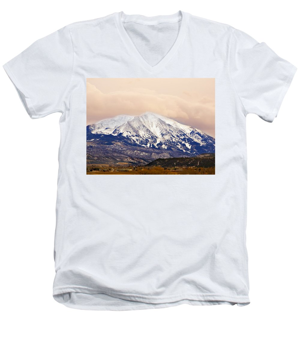Americana Men's V-Neck T-Shirt featuring the photograph Mount Sopris by Marilyn Hunt