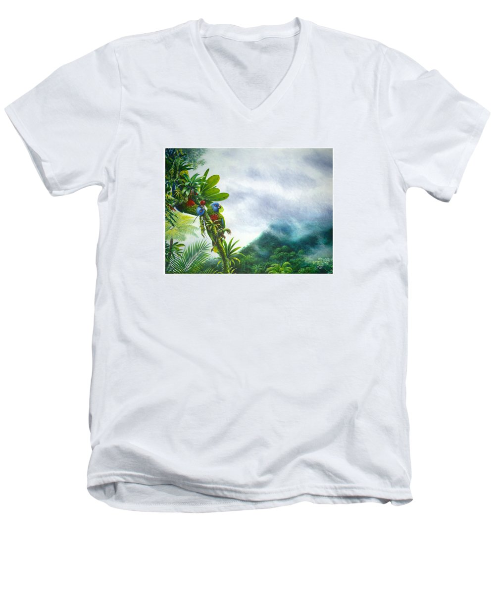 Chris Cox Men's V-Neck T-Shirt featuring the painting Mountain High - St. Lucia Parrots by Christopher Cox