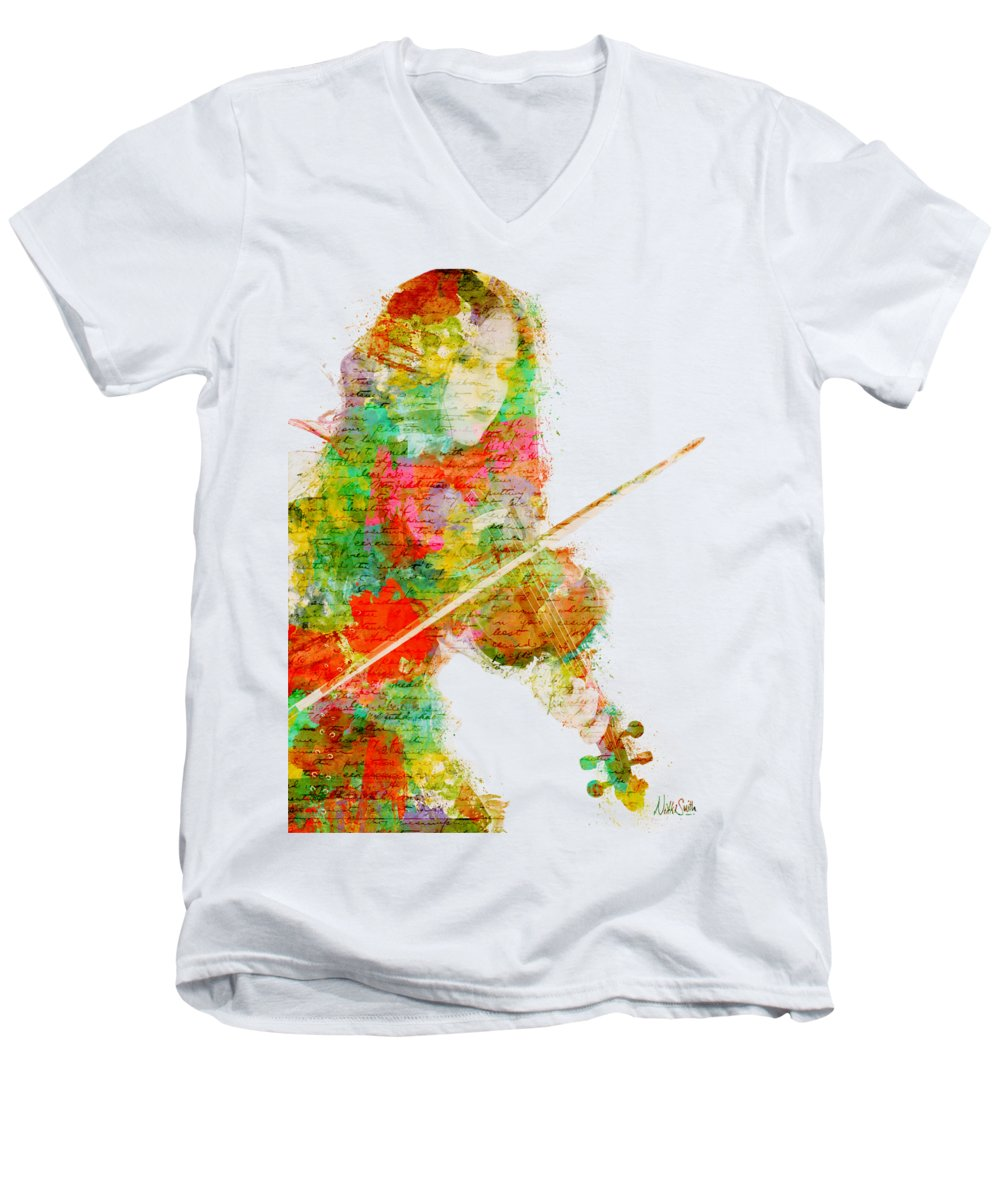 Violin V-Neck T-Shirts