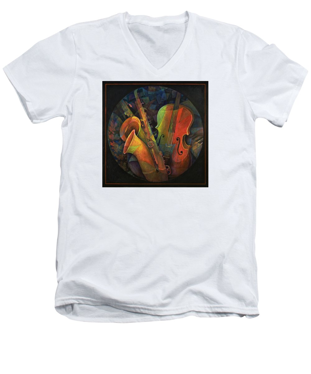 Susanne Clark Men's V-Neck T-Shirt featuring the painting Musical Mandala - Features Cello And Sax's by Susanne Clark