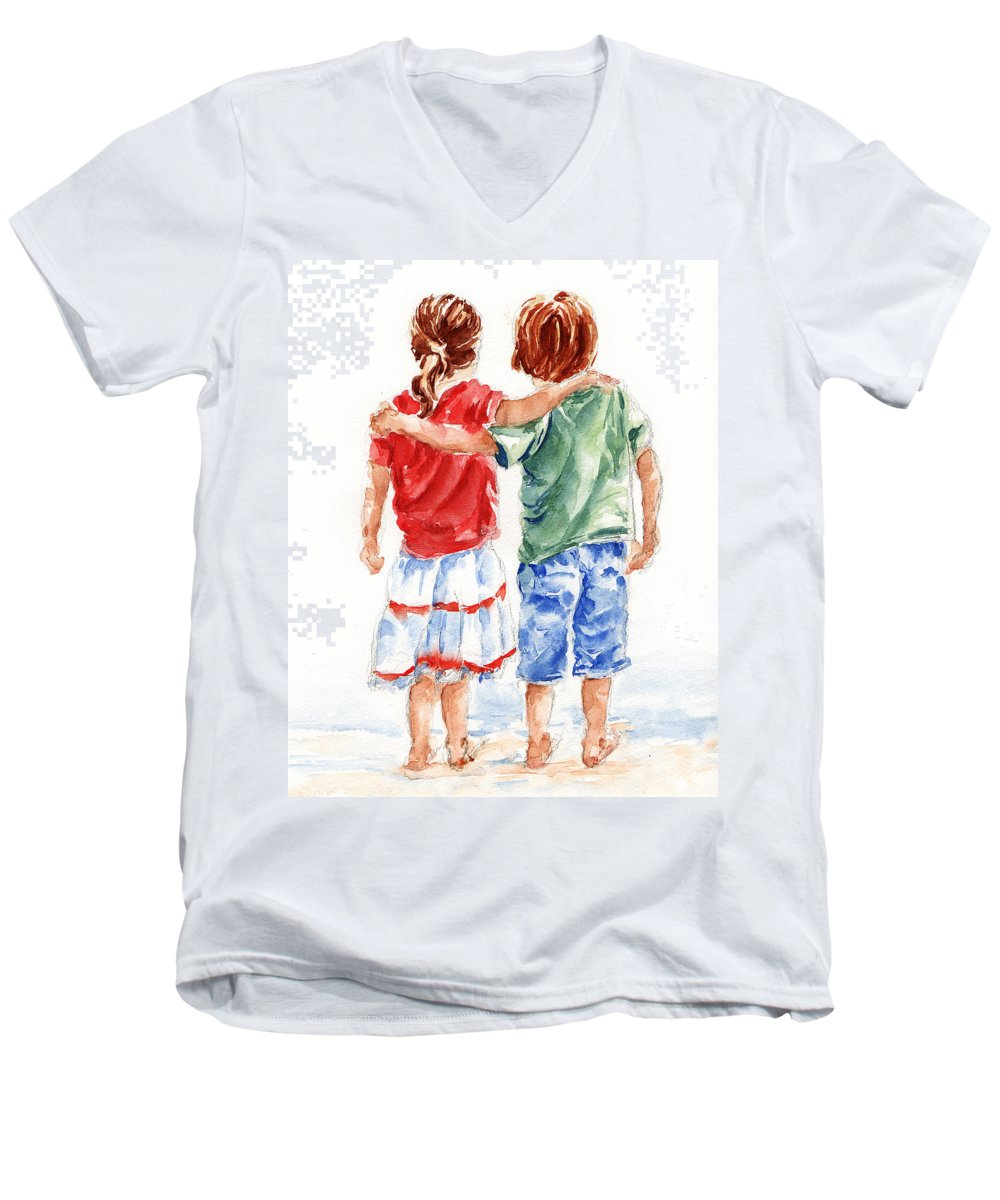 Watercolour Men's V-Neck T-Shirt featuring the painting My Friend by Stephie Butler