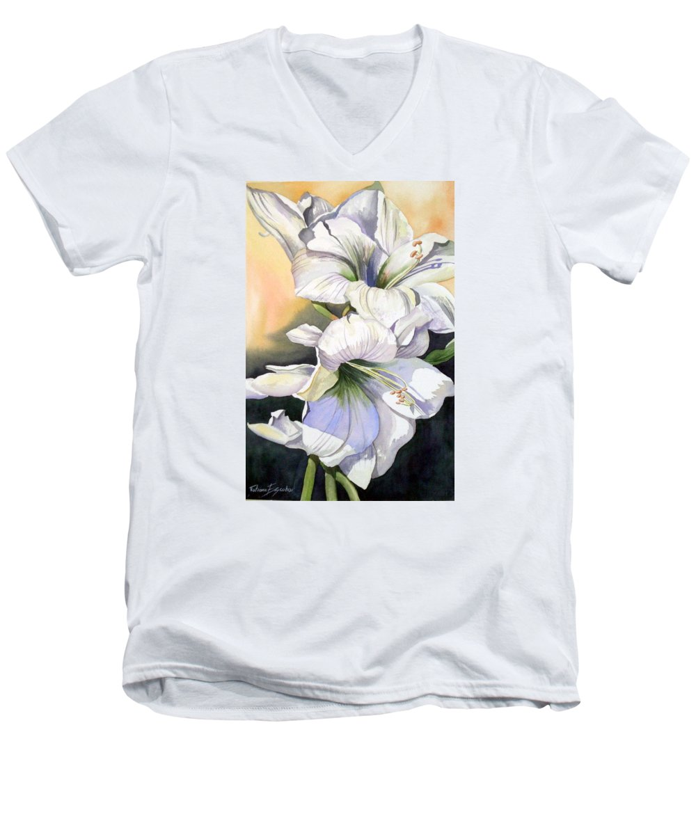 Flower Men's V-Neck T-Shirt featuring the painting My Love by Tatiana Escobar