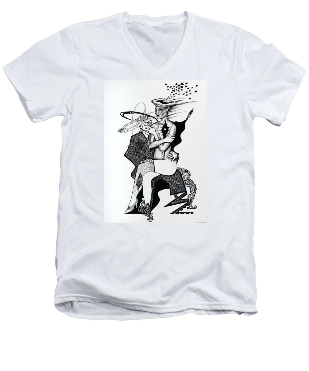 Love Men's V-Neck T-Shirt featuring the drawing My Shadow And I by Yelena Tylkina