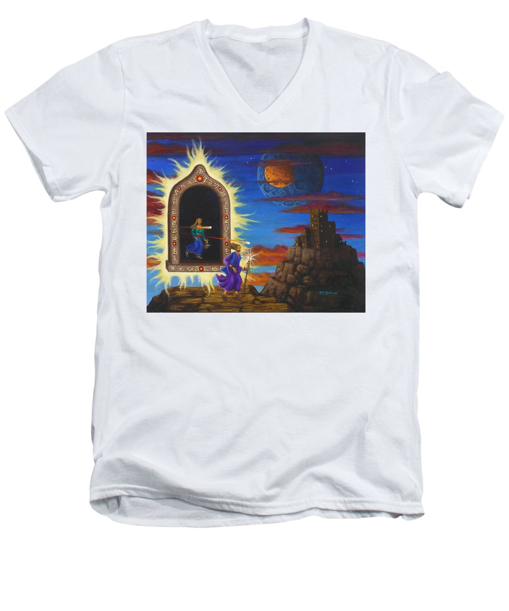 Fantasy Men's V-Neck T-Shirt featuring the painting Narrow Escape by Roz Eve