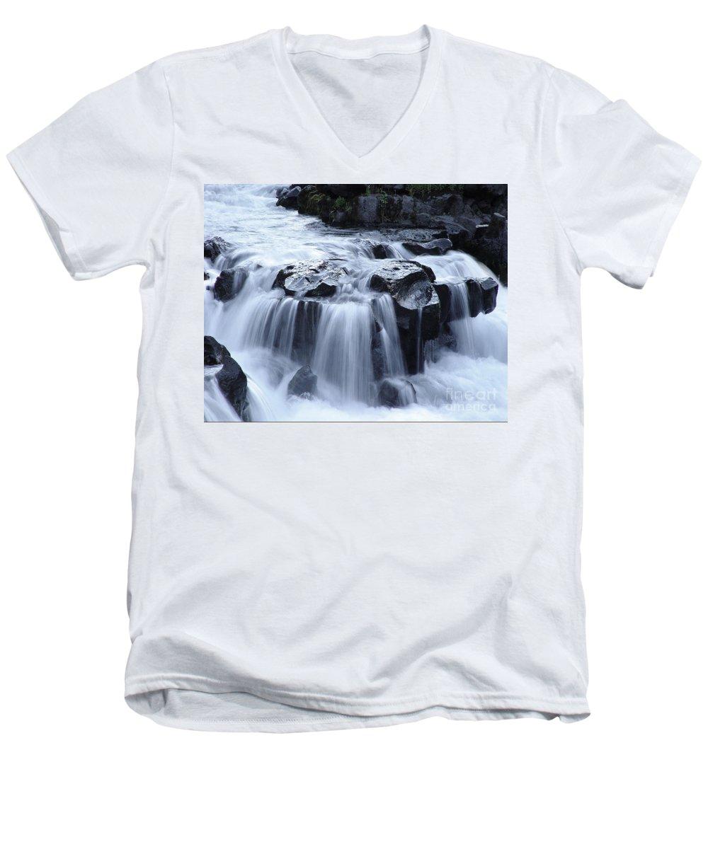 Waterfall Men's V-Neck T-Shirt featuring the photograph Natural Bridges Falls 02 by Peter Piatt