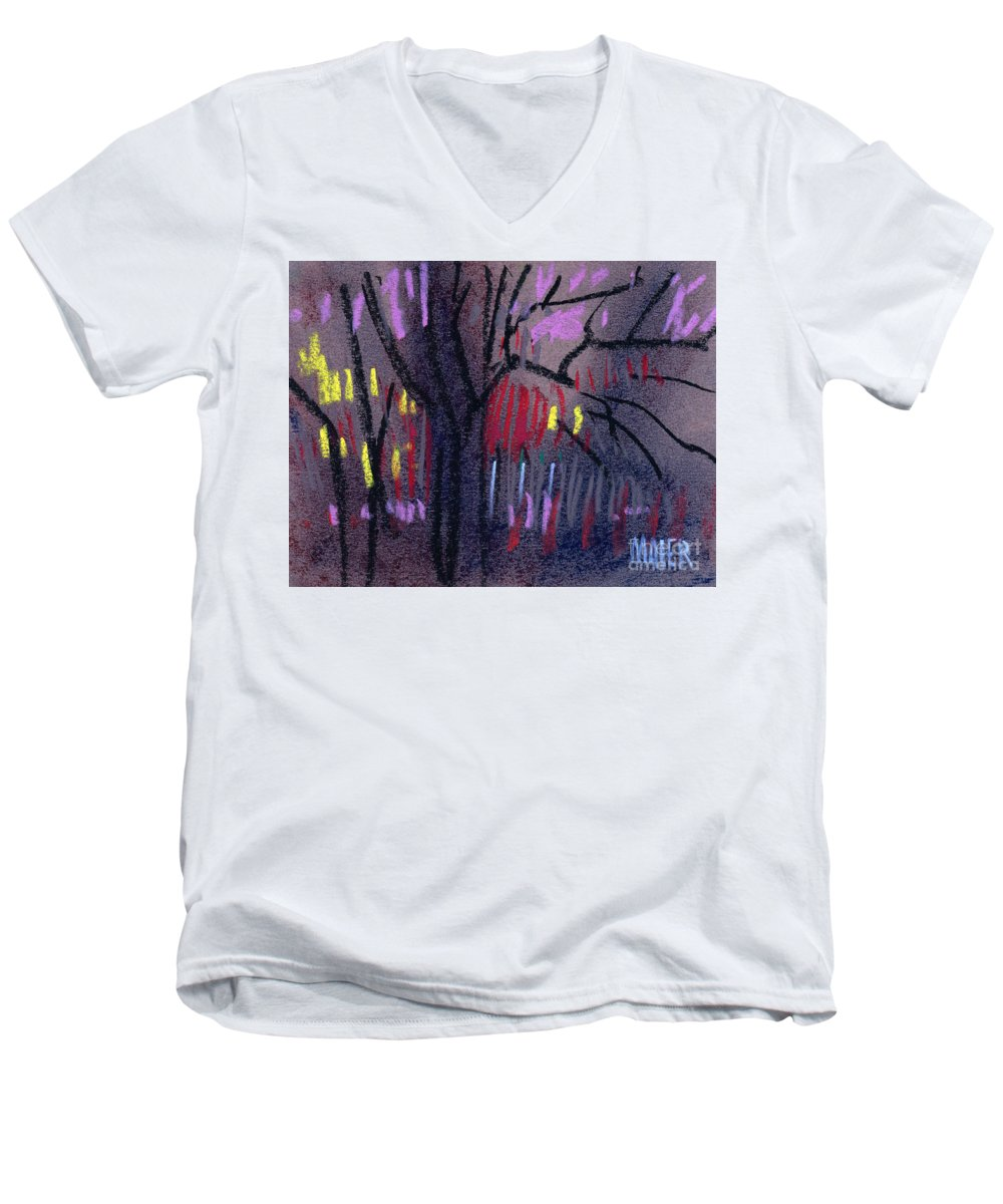 Abstract Men's V-Neck T-Shirt featuring the drawing Neighbor's Lights by Donald Maier