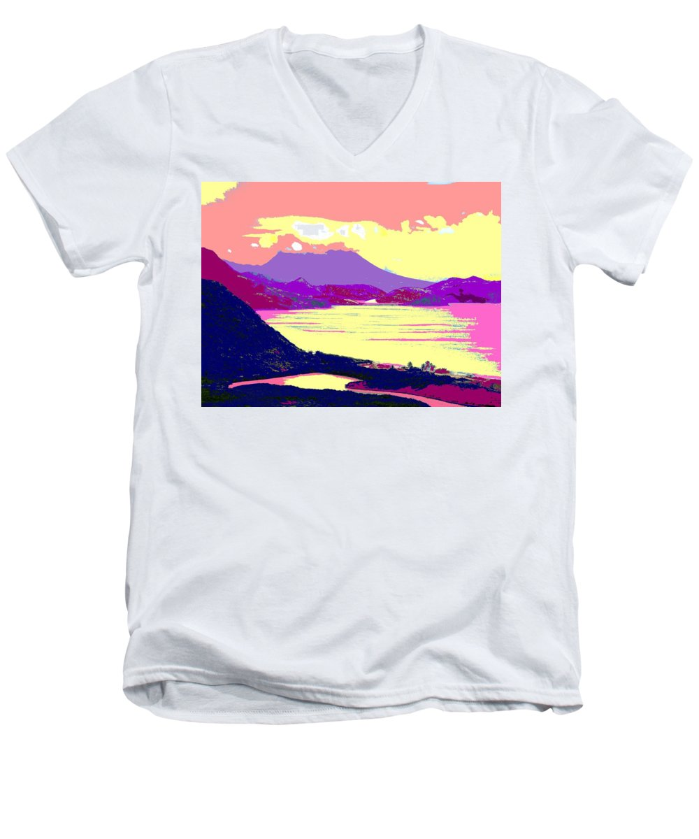 Nevis Men's V-Neck T-Shirt featuring the photograph Nevis From The Penninsula by Ian MacDonald
