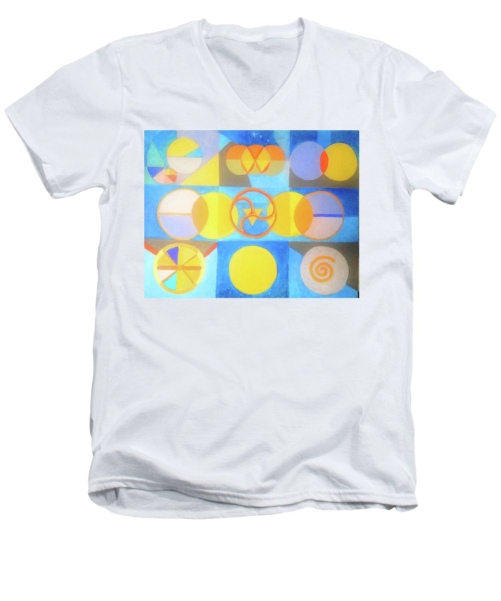Circles Men's V-Neck T-Shirt featuring the painting Geometrica 1 by Suzanne Cerny