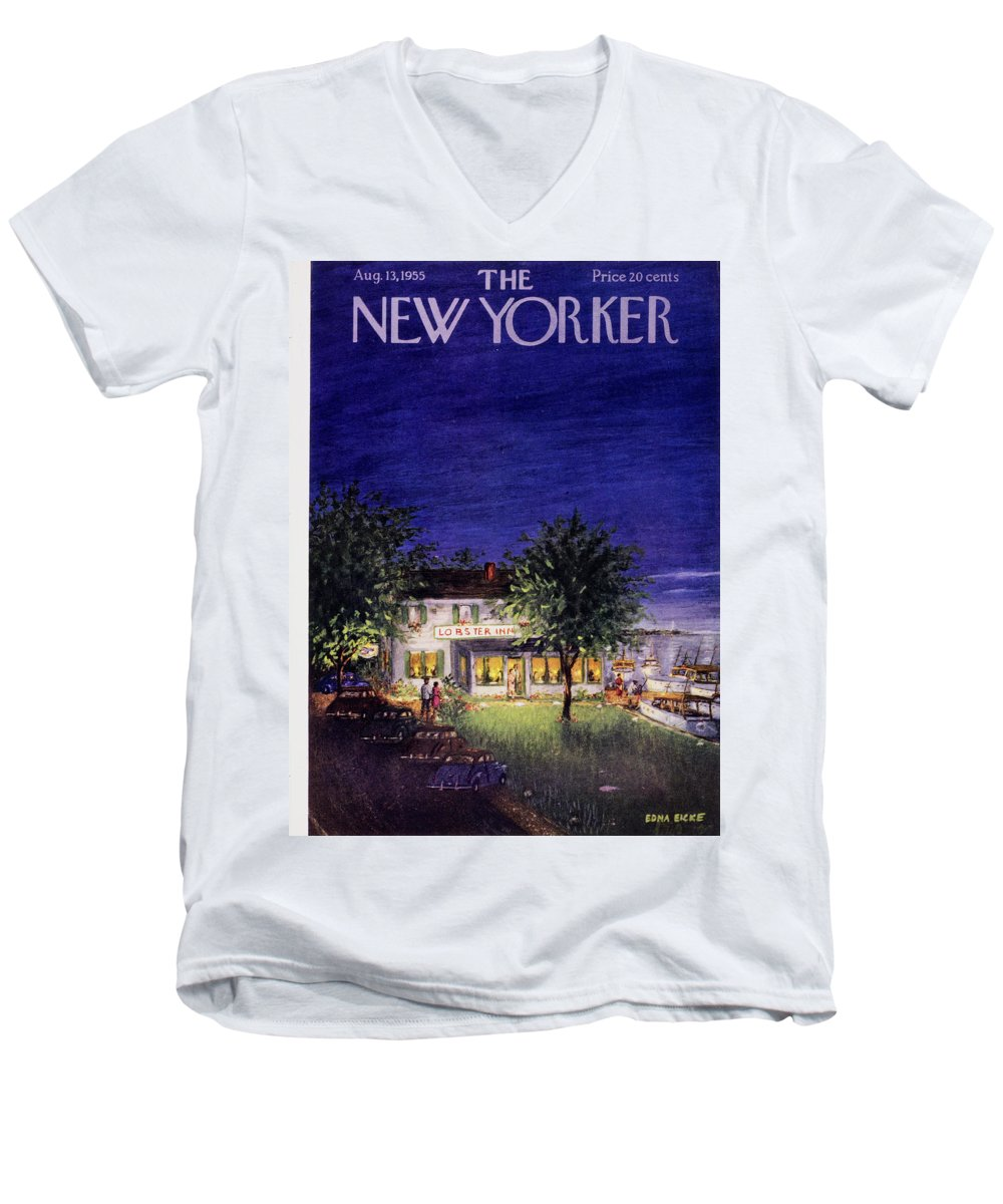 Restaurant Men's V-Neck T-Shirt featuring the painting New Yorker August 13 1955 by Edna Eicke