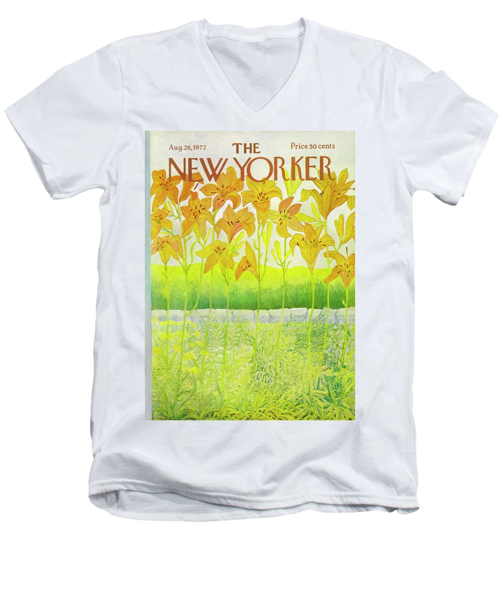 Flowers Men's V-Neck T-Shirt featuring the drawing New Yorker August 26 1972 by Ilonka Karasz