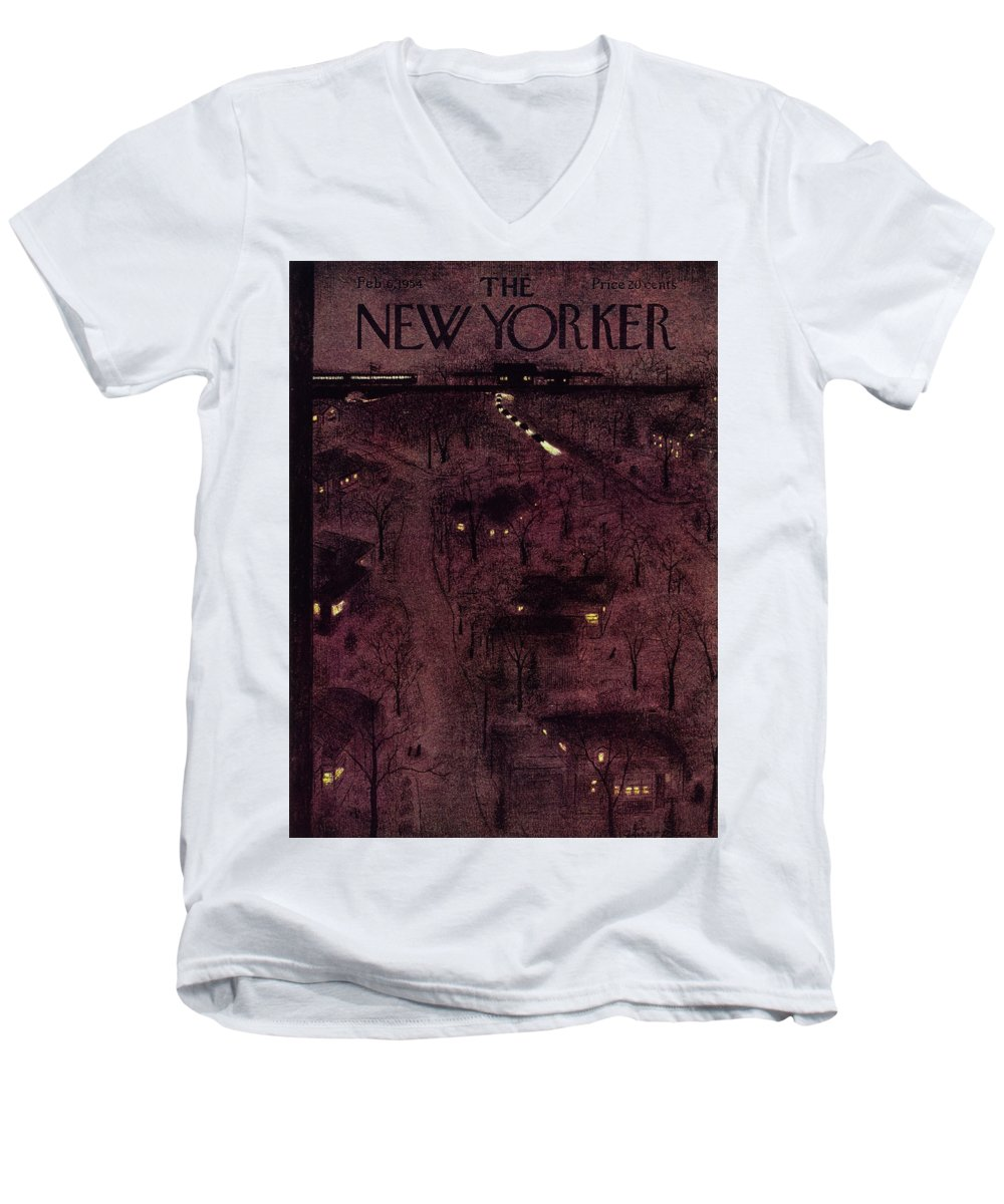 Overhead Men's V-Neck T-Shirt featuring the painting New Yorker February 6 1954 by Garrett Price