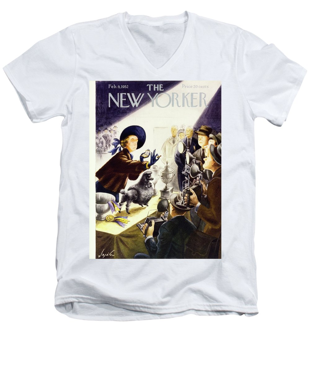 Illustration Men's V-Neck T-Shirt featuring the painting New Yorker February 9 1952 by Constantin Alajalov