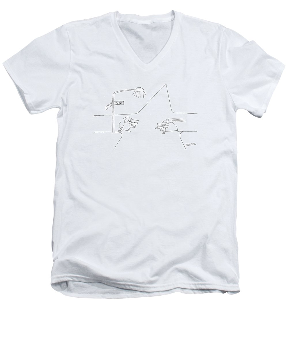 Dog Men's V-Neck T-Shirt featuring the drawing New Yorker January 12th 1976 by Saul Steinberg