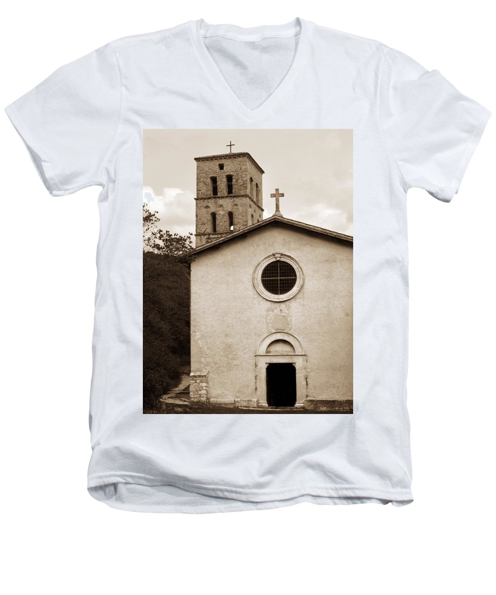 Curch Men's V-Neck T-Shirt featuring the photograph Nice Old Church For Wedding by Marilyn Hunt