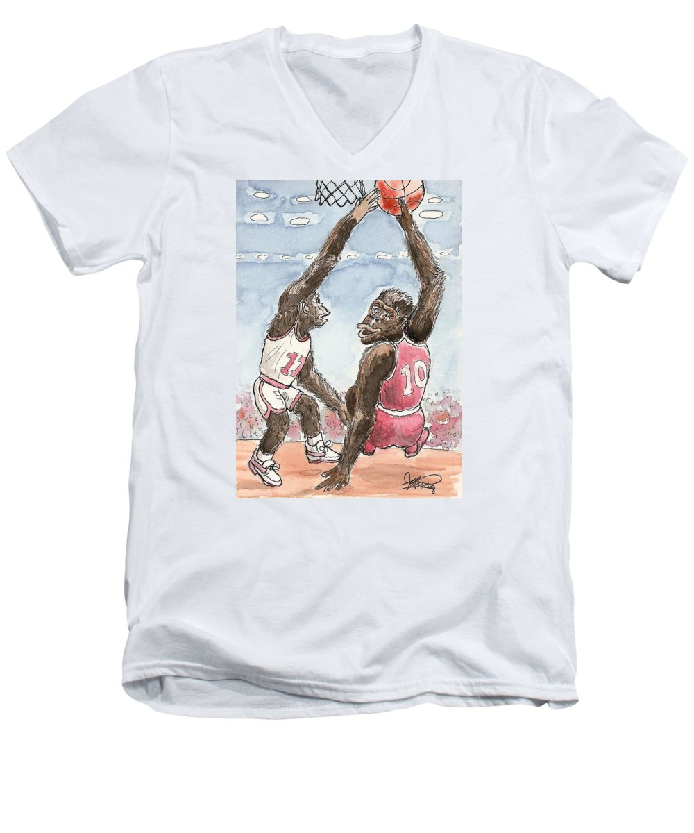 Basketbal Men's V-Neck T-Shirt featuring the painting No No No by George I Perez