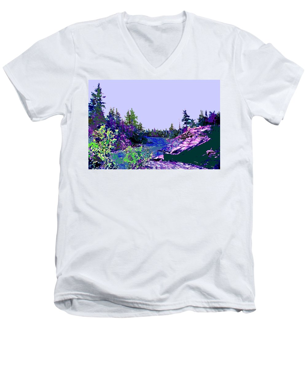 Norlthern Men's V-Neck T-Shirt featuring the photograph Northern Ontario River by Ian MacDonald