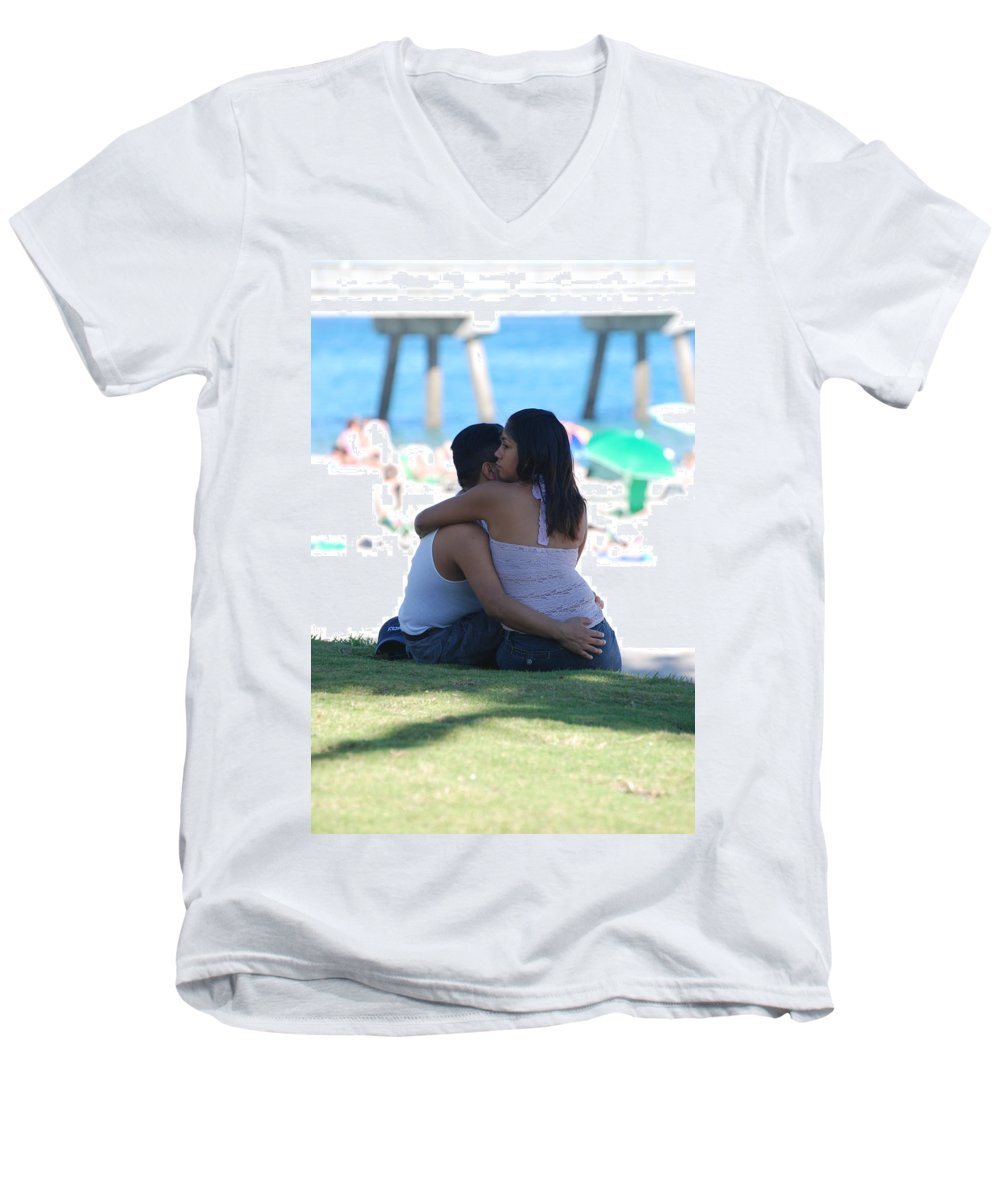 People Men's V-Neck T-Shirt featuring the photograph Not Married by Rob Hans