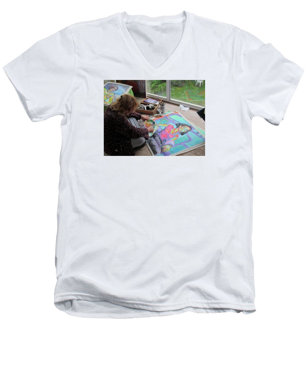 Landscape Men's V-Neck T-Shirt featuring the painting Nude by Raquel Sarangello