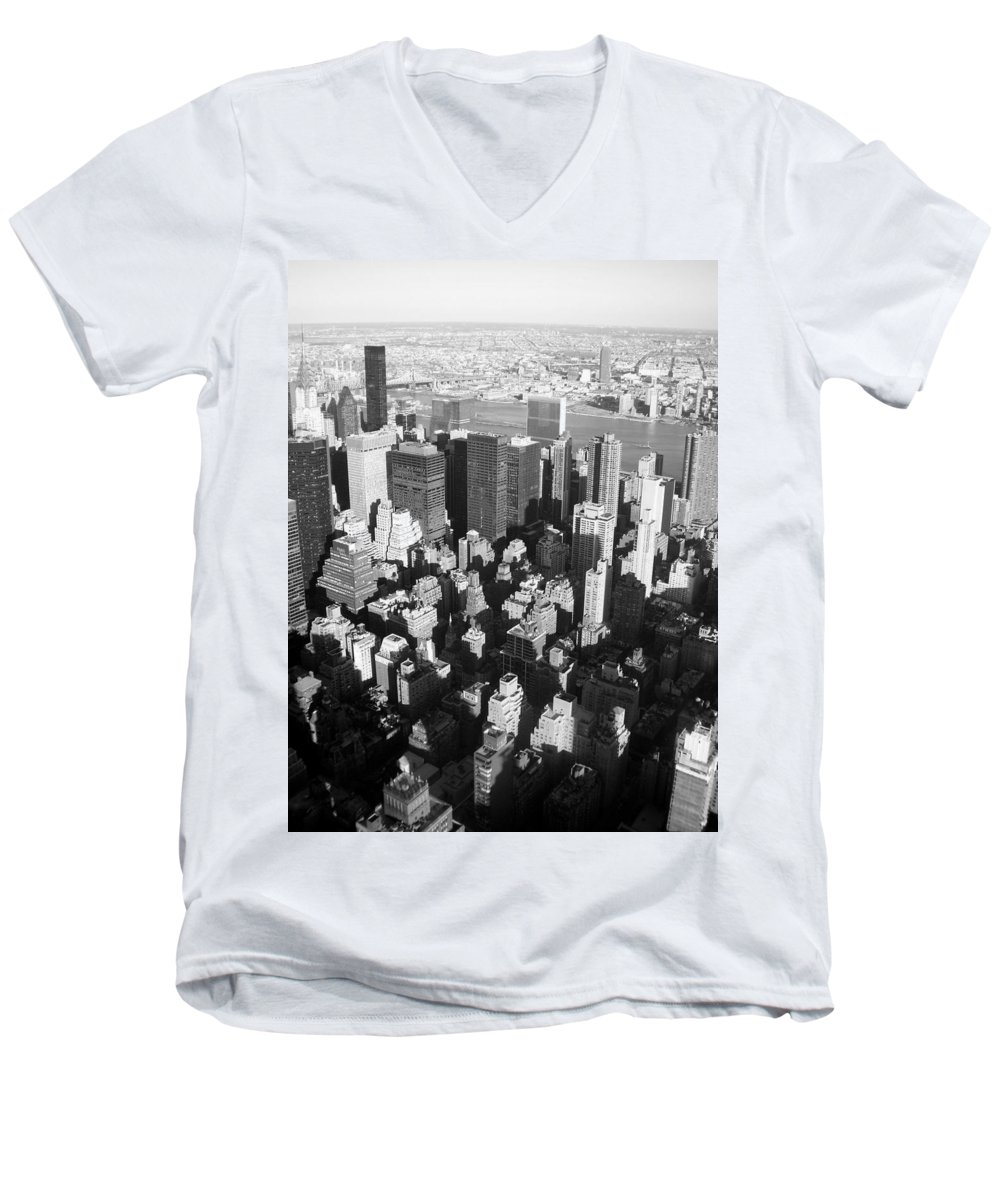 Nyc Men's V-Neck T-Shirt featuring the photograph Nyc Bw by Anita Burgermeister