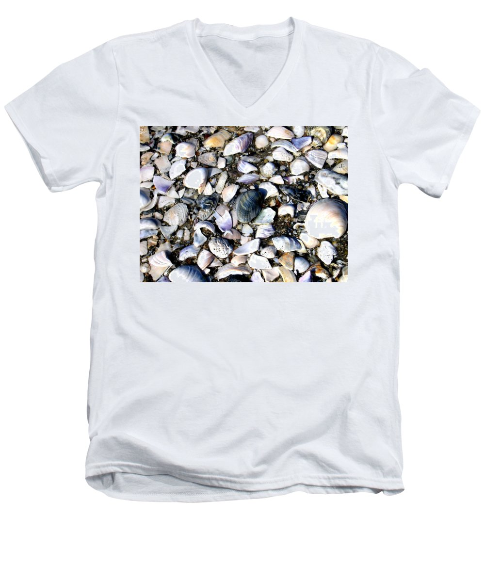 Ocracoke Men's V-Neck T-Shirt featuring the photograph Ocracoke Shells by Wayne Potrafka