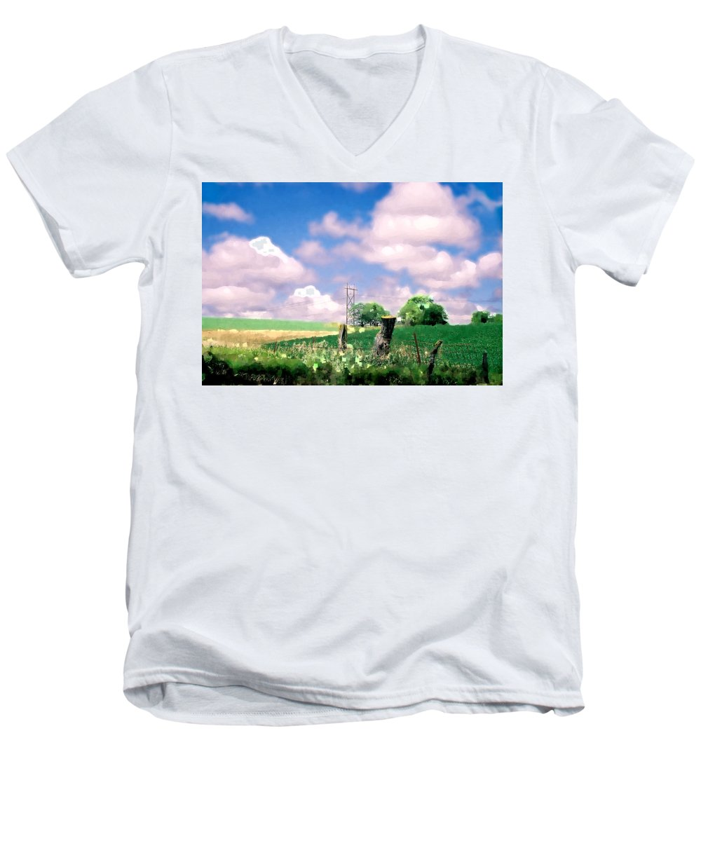 Landscape Men's V-Neck T-Shirt featuring the photograph Off The Grid by Steve Karol