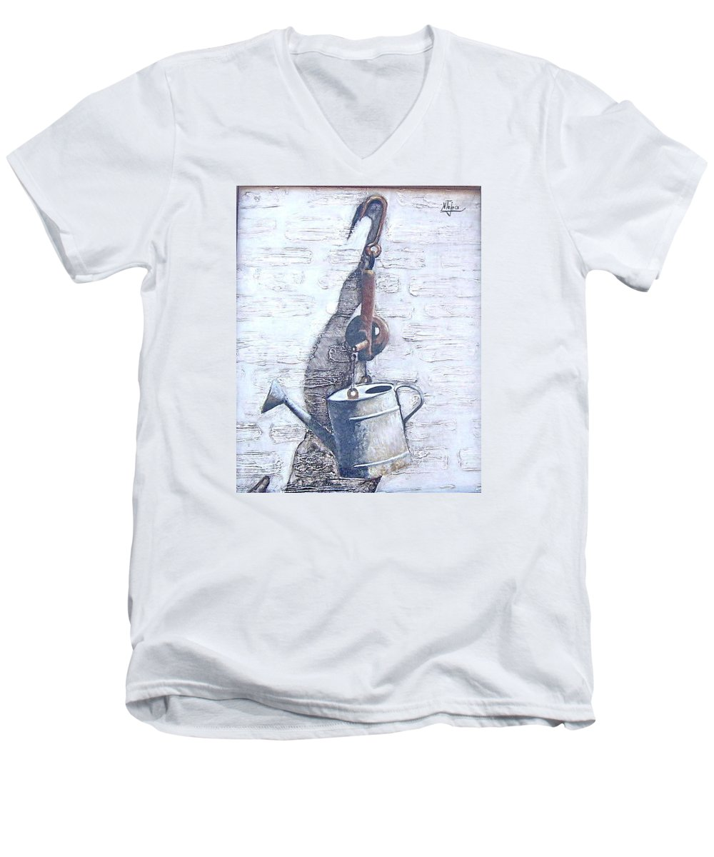Old Metal Still Life Men's V-Neck T-Shirt featuring the painting Old Metal by Natalia Tejera