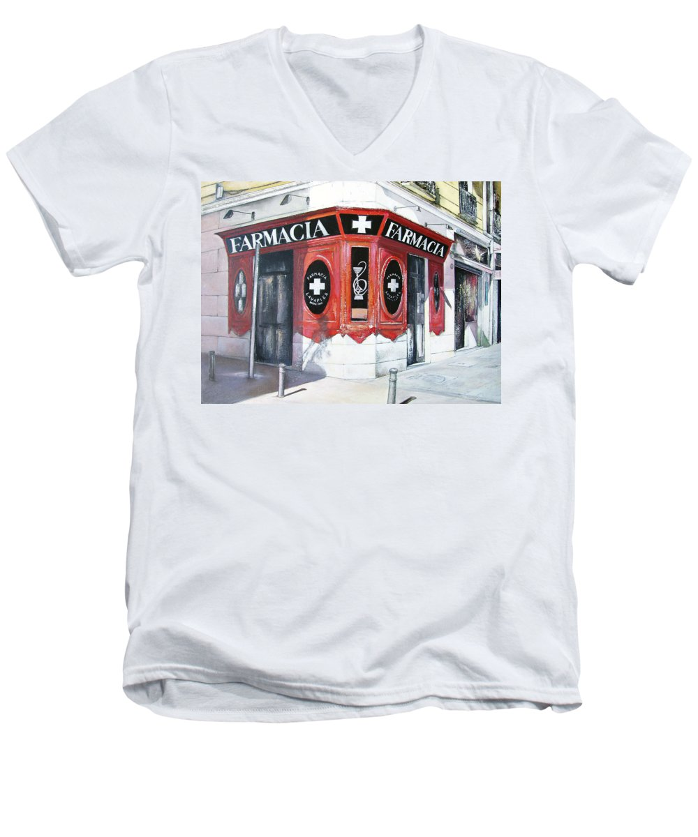 Pharmacy Men's V-Neck T-Shirt featuring the painting Old Pharmacy by Tomas Castano