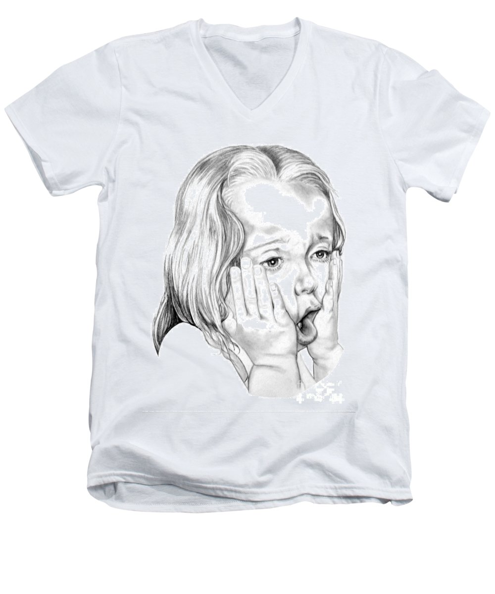 Portrait Men's V-Neck T-Shirt featuring the drawing OMG by Murphy Elliott