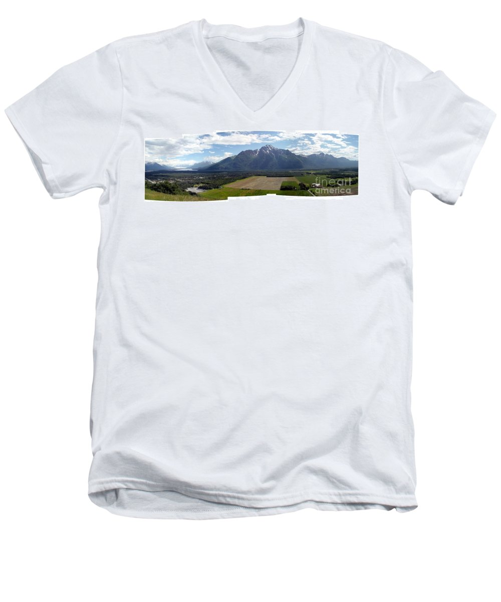 Landscape Men's V-Neck T-Shirt featuring the photograph On A Butteiful Day by Ron Bissett