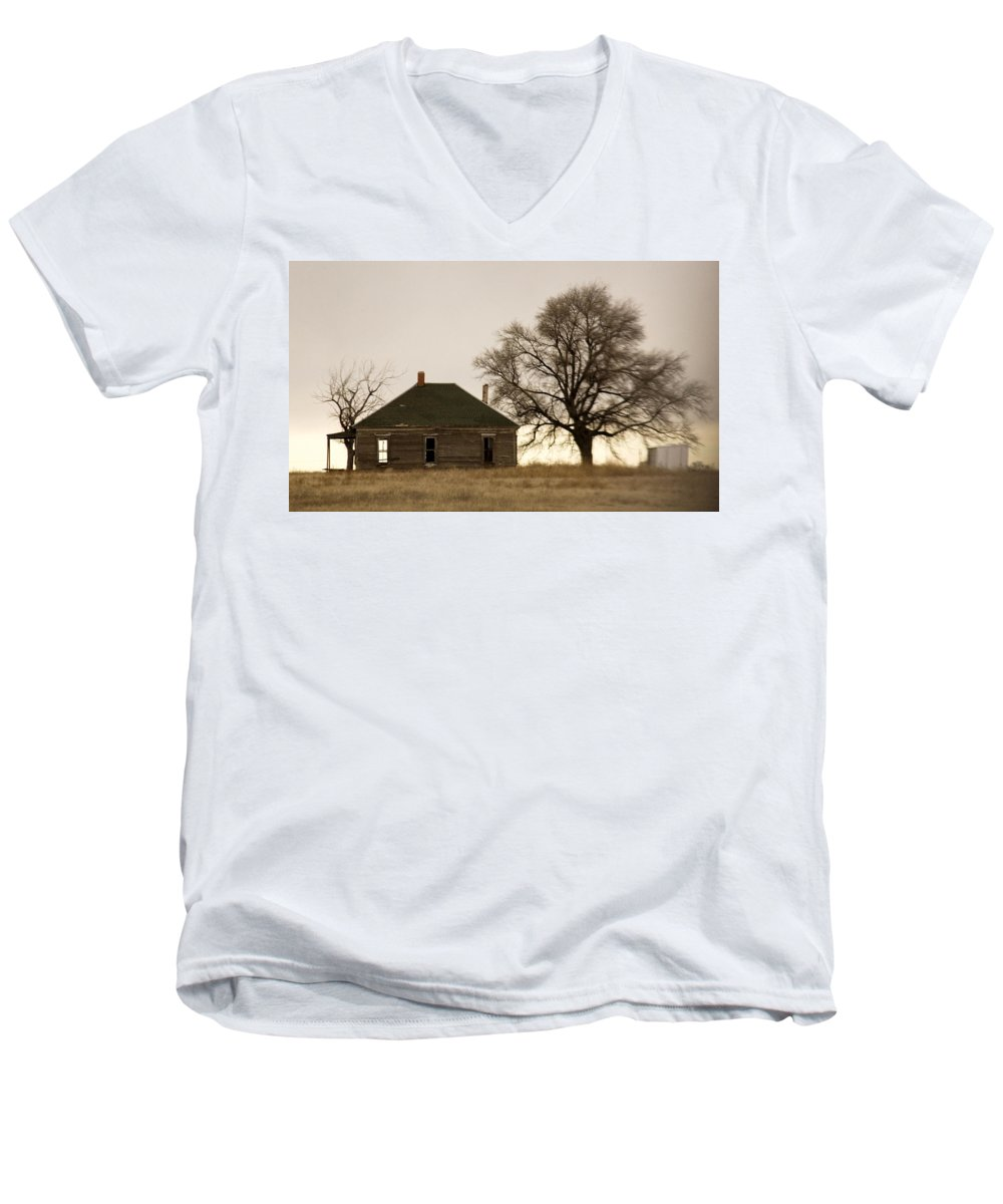 Americana Men's V-Neck T-Shirt featuring the photograph Once Upon A Time In West Texas by Marilyn Hunt