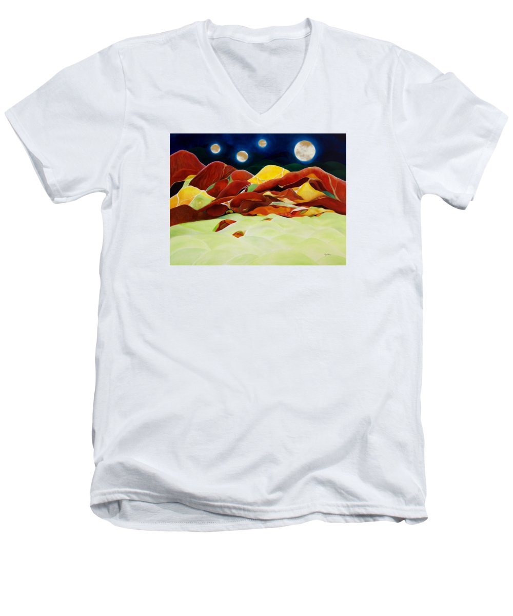 Oil Men's V-Neck T-Shirt featuring the painting One Step Up From Third by Peggy Guichu