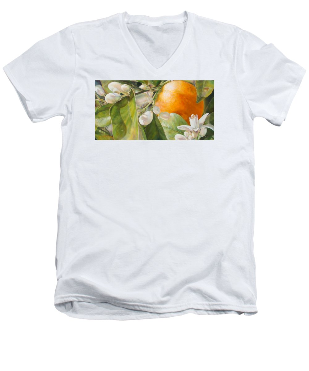 Floral Painting Men's V-Neck T-Shirt featuring the painting Orange Fleurie by Dolemieux