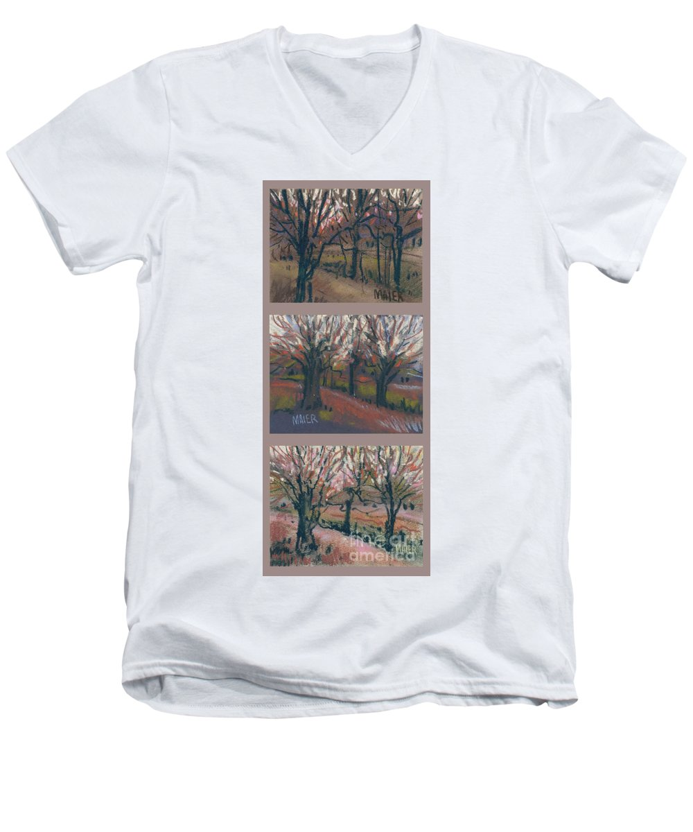 Pastel Men's V-Neck T-Shirt featuring the drawing Orchard Sunset by Donald Maier