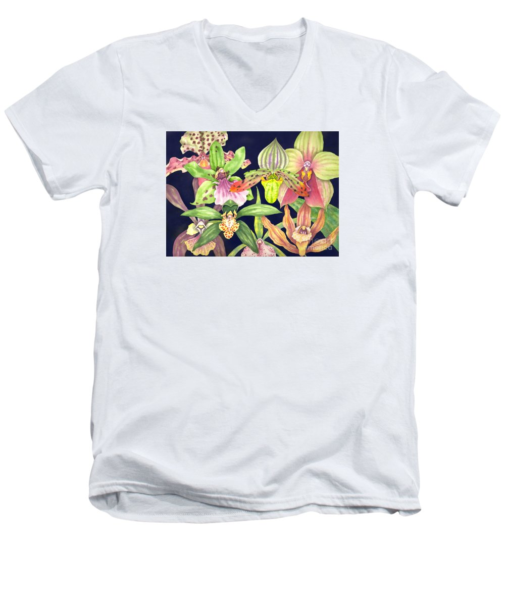 Orchids Men's V-Neck T-Shirt featuring the painting Orchids by Lucy Arnold